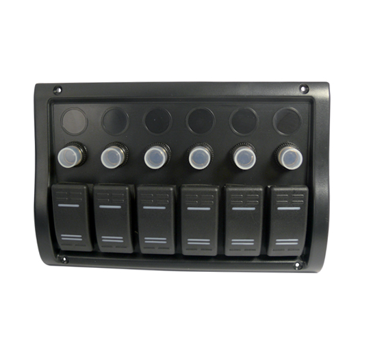 6 gang waterproof switch panel with automatic fuses  12v 12 Volt Fuse Connectors 12 Volt Fuse Connectors