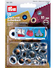 Prym eyelets with washers, 11mm, Nickel-plated brass