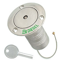 Hose deck fill for diesel, pop up with lock, stainless steel, 38mm, 76mm, 45mm,76mm