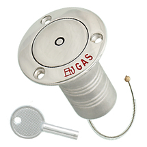 Hose deck fill for gas, pop up with lock, stainless steel, 38mm, 76mm, 45mm,76mm