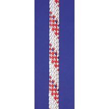 Novoleen halyard rope Super 32, 2times double woven, inlay 100% Novoleen, Seilflechter, white - red spots, 5mm, 200m