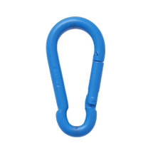 Stainless steel spring  hook with blue PE-coat 6x60mm