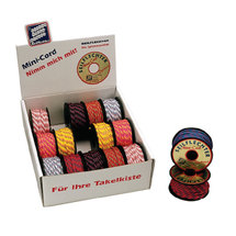 Minicord ropes, woven, color assortet, polyester, 3mm, 15 rolls