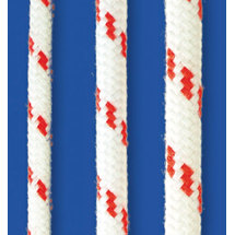 Yacht-Sheet 16, Seilflechter, white with red spots, 12mm, 250m