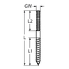 dowel screw with left thread M6, 90mm